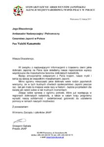 List Stowarzyszenia JAAP doJego Ekscelencji Ambasadora Japonii wPolsce